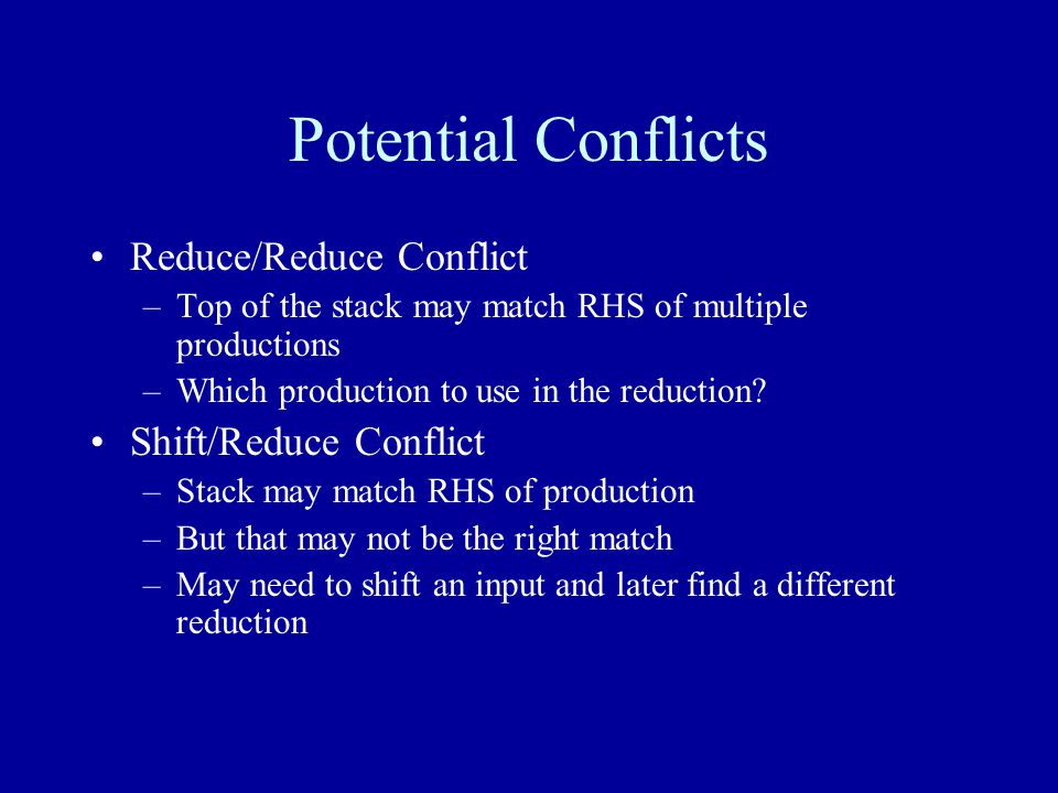 Potential Conflicts Reduce/Reduce Conflict –Top of the stack may match RHS of multiple productions –Which production to use in the reduction.