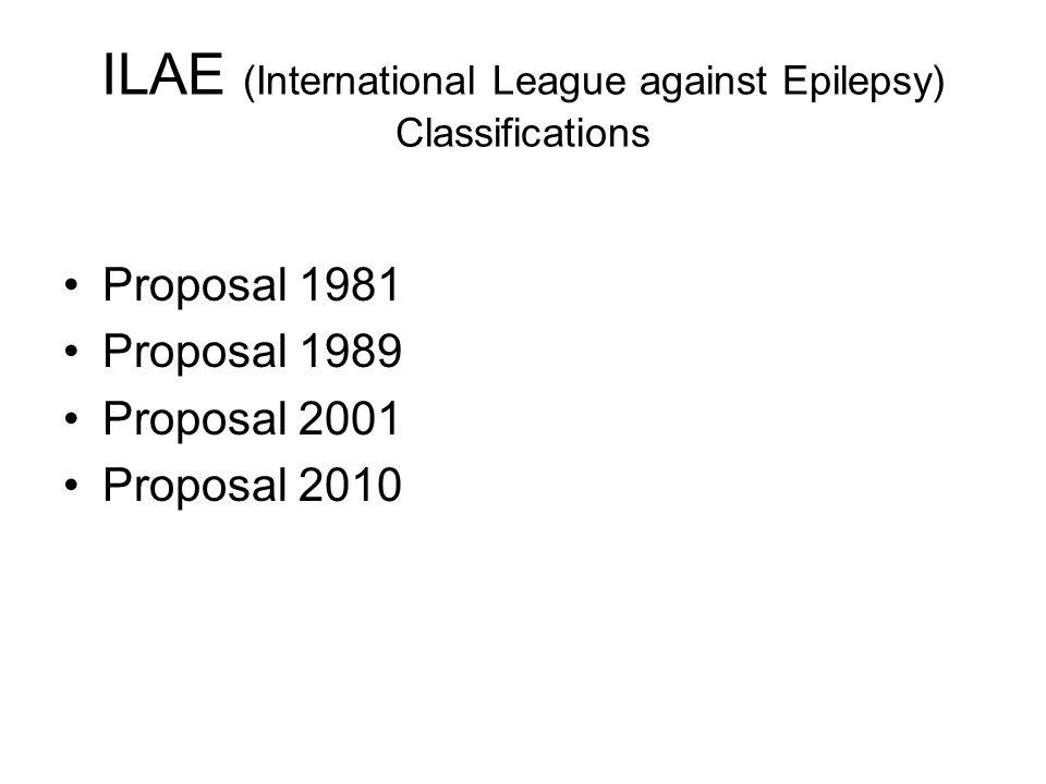 ILAE (International League against Epilepsy) Classifications Proposal 1981 Proposal 1989 Proposal 2001 Proposal 2010