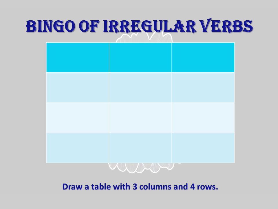 BINGO OF IRREGULAR VERBS Draw a table with 3 columns and 4 rows.