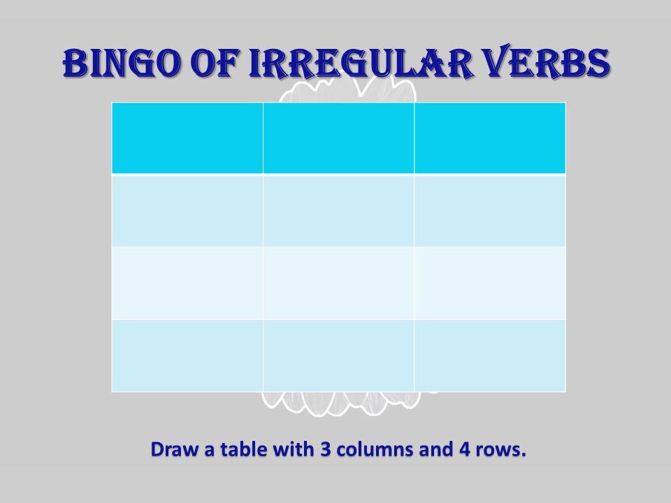 Now, choose 12 of these 30 irregular verbs: boughteatenput shonelostmaderead spokenwrittentaken slept sentkeptpaid got knownmetgiven heardhadgonetold spent wonsatbeen begunbuiltbrokenquit