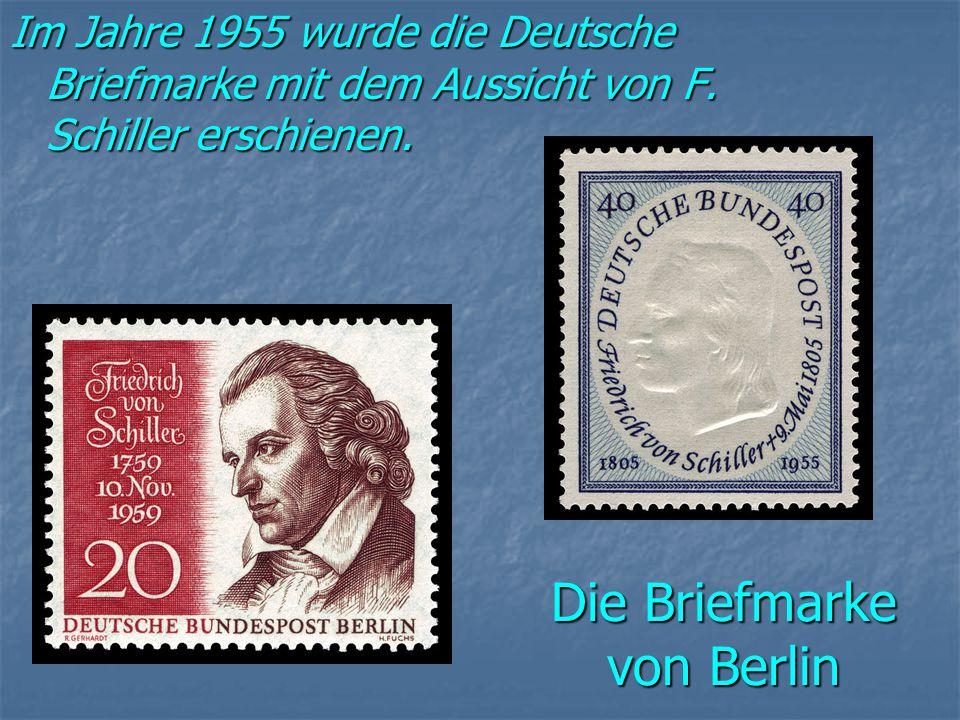 Die Briefmarke von Berlin Im Jahre 1955 wurde die Deutsche Briefmarke mit dem Aussicht von F.