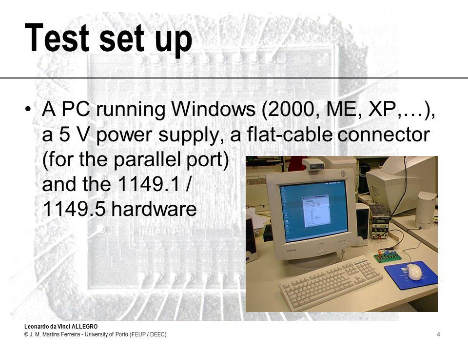 Leonardo da Vinci ALLEGRO © J. M. Martins Ferreira - University of Porto (FEUP / DEEC)4 Test set up A PC running Windows (2000, ME, XP,…), a 5 V power