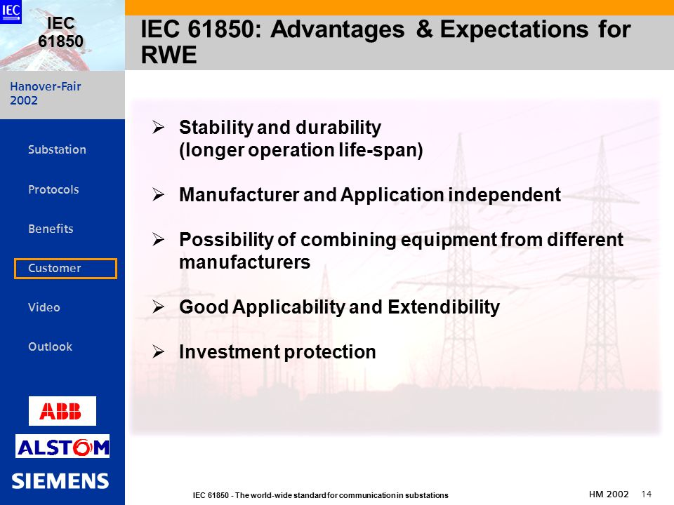 Hanover-Fair 2002 IEC The world-wide standard for communication in substations HM IEC   Substation Protocols Benefits Customer Video Outlook IEC 61850: Advantages & Expectations for RWE  Stability and durability (longer operation life-span)  Manufacturer and Application independent  Possibility of combining equipment from different manufacturers  Good Applicability and Extendibility  Investment protection