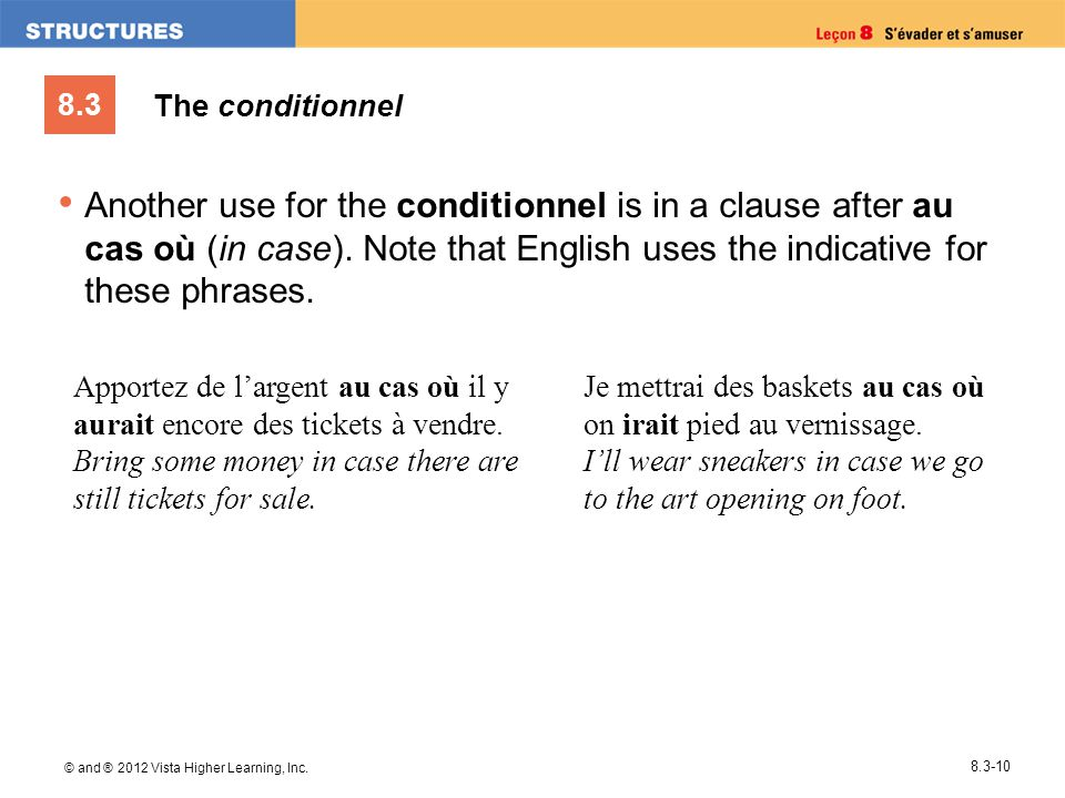 8.3 © and ® 2012 Vista Higher Learning, Inc. 8.3-10 Another use for the conditionnel is in a clause after au cas où (in case). Note that English uses