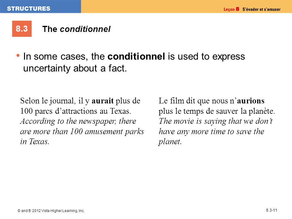 8.3 © and ® 2012 Vista Higher Learning, Inc. 8.3-11 In some cases, the conditionnel is used to express uncertainty about a fact. Selon le journal, il
