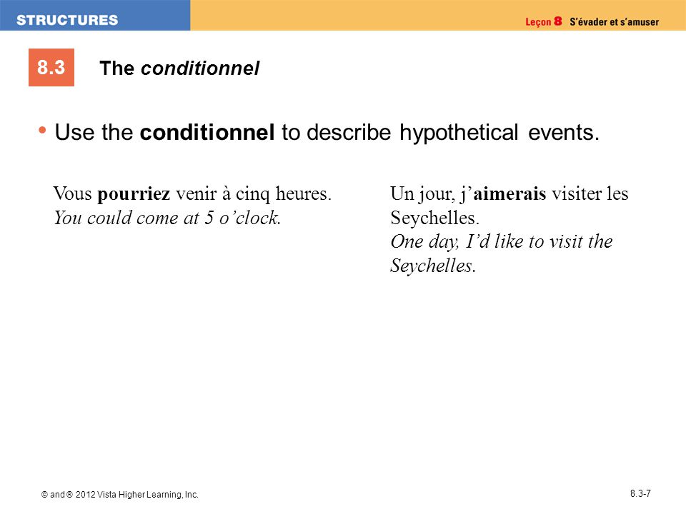 8.3 © and ® 2012 Vista Higher Learning, Inc. 8.3-7 Use the conditionnel to describe hypothetical events. Vous pourriez venir à cinq heures. You could