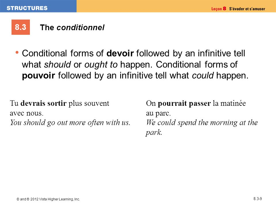 8.3 © and ® 2012 Vista Higher Learning, Inc. 8.3-9 Conditional forms of devoir followed by an infinitive tell what should or ought to happen. Conditio