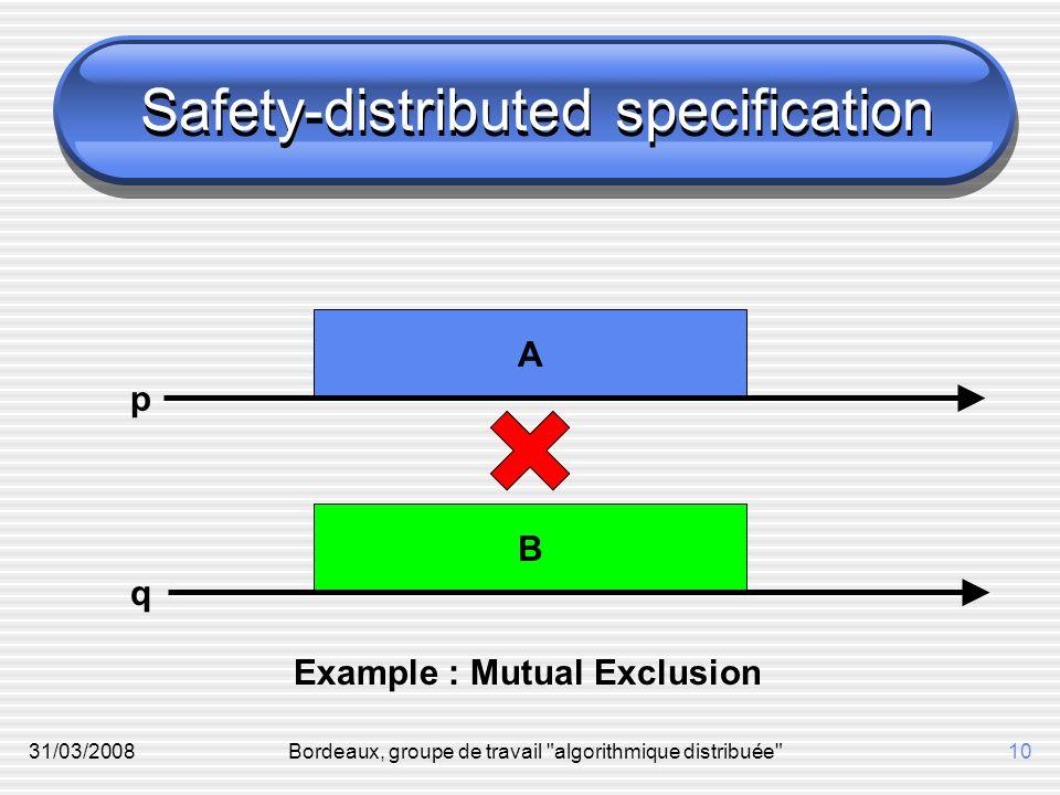 31/03/2008Bordeaux, groupe de travail algorithmique distribuée 10 B A Safety-distributed specification p q Example : Mutual Exclusion