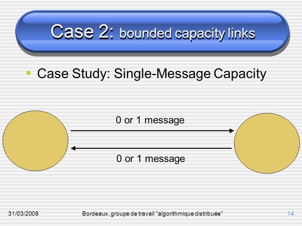 31/03/2008Bordeaux, groupe de travail algorithmique distribuée 14 Case 2: bounded capacity links Case Study: Single-Message Capacity 0 or 1 message