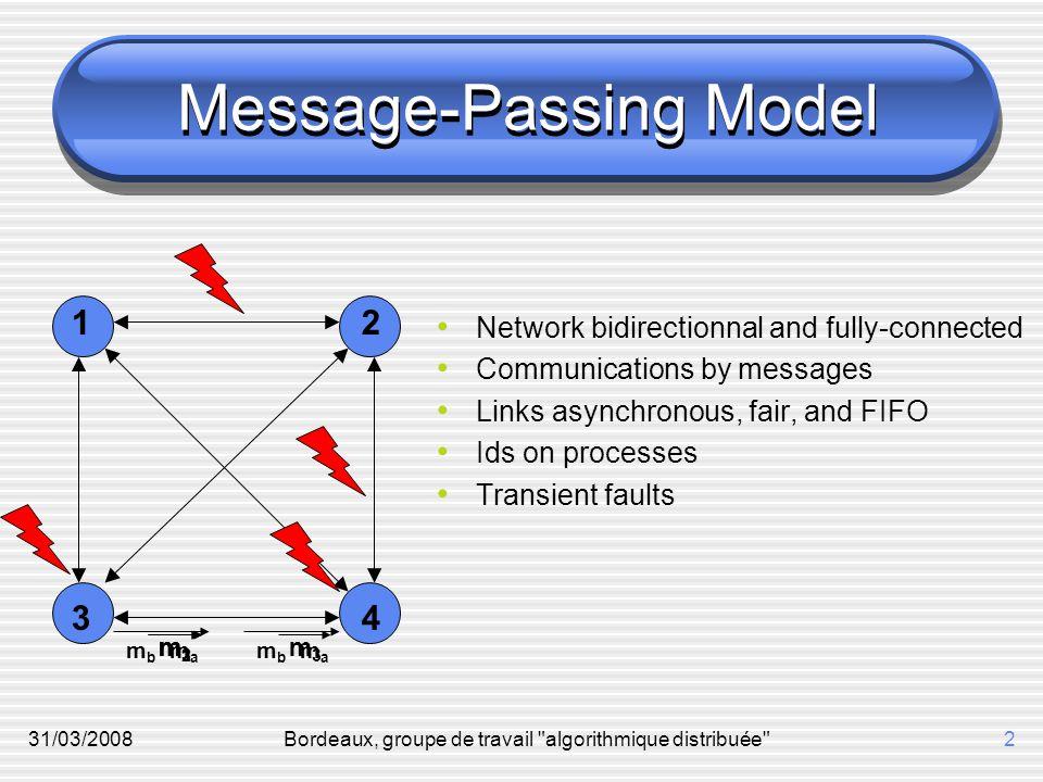 31/03/2008Bordeaux, groupe de travail algorithmique distribuée 2 Message-Passing Model Network bidirectionnal and fully-connected Communications by messages Links asynchronous, fair, and FIFO Ids on processes Transient faults m1m1 m2m2 m3m3 m3m3 mama mbmb mama mbmb 1234