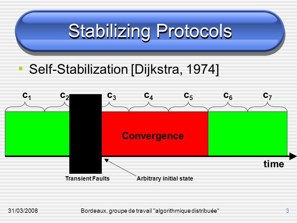31/03/2008Bordeaux, groupe de travail algorithmique distribuée 3 Stabilizing Protocols Self-Stabilization [Dijkstra, 1974] time Transient Faults Convergence c1c1 c3c3 c2c2 c5c5 c4c4 c6c6 c7c7 Arbitrary initial state