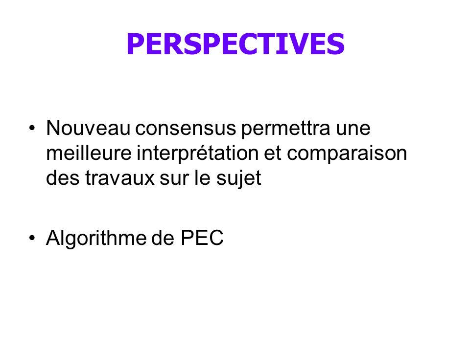 PERSPECTIVES Nouveau consensus permettra une meilleure interprétation et comparaison des travaux sur le sujet Algorithme de PEC