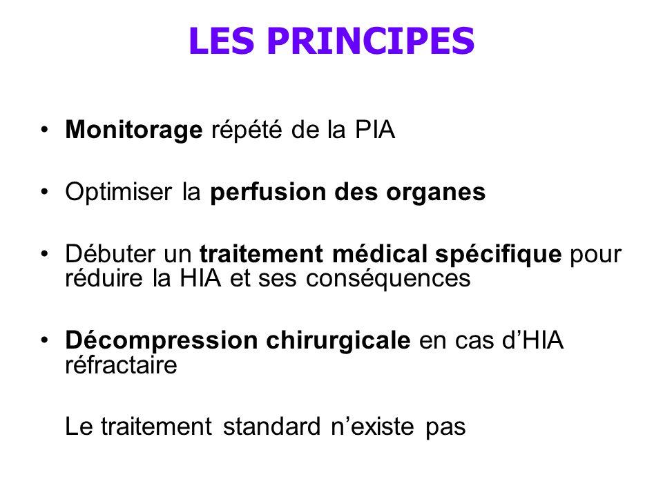 LES PRINCIPES Monitorage répété de la PIA Optimiser la perfusion des organes Débuter un traitement médical spécifique pour réduire la HIA et ses conséquences Décompression chirurgicale en cas d'HIA réfractaire Le traitement standard n'existe pas