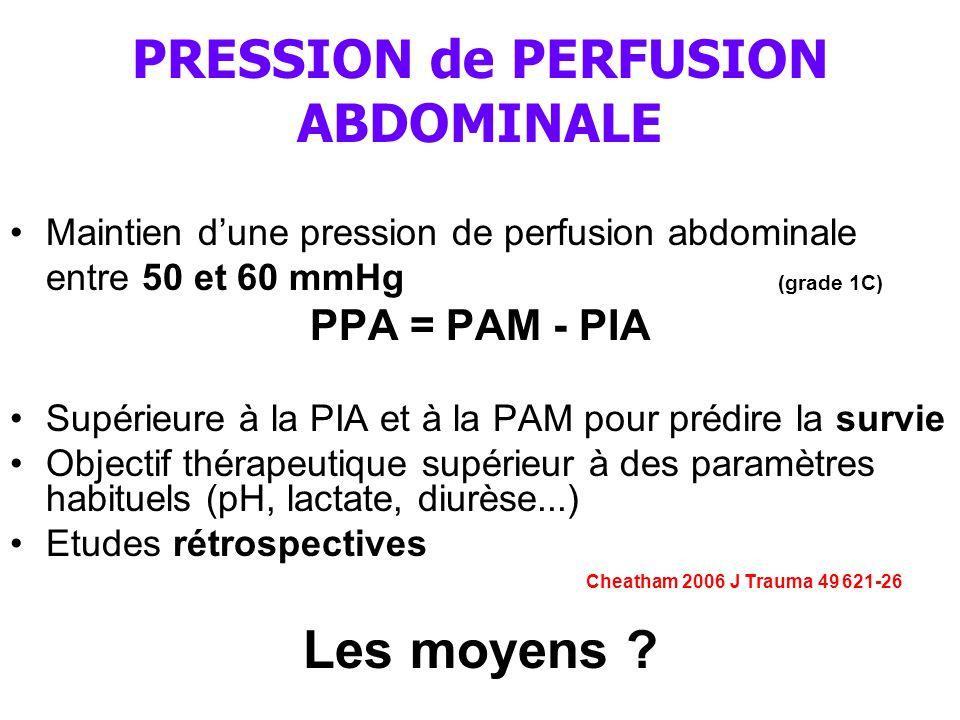 PRESSION de PERFUSION ABDOMINALE Maintien d'une pression de perfusion abdominale entre 50 et 60 mmHg (grade 1C) PPA = PAM - PIA Supérieure à la PIA et à la PAM pour prédire la survie Objectif thérapeutique supérieur à des paramètres habituels (pH, lactate, diurèse...) Etudes rétrospectives Cheatham 2006 J Trauma 49 621-26 Les moyens