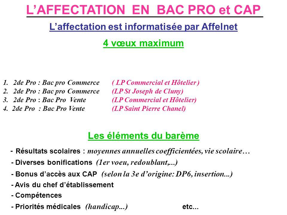 L'AFFECTATION EN BAC PRO et CAP L'affectation est informatisée par Affelnet 4 vœux maximum 1.2de Pro : Bac pro Commerce ( LP Commercial et Hôtelier ) 2.2de Pro : Bac pro Commerce(LP St Joseph de Cluny) 3.2de Pro : Bac Pro Vente(LP Commercial et Hôtelier) 4.