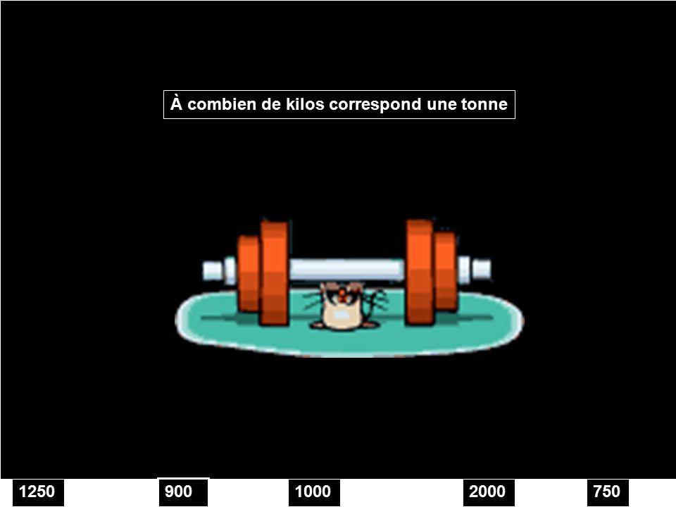 100012502000750 À combien de kilos correspond une tonne 900