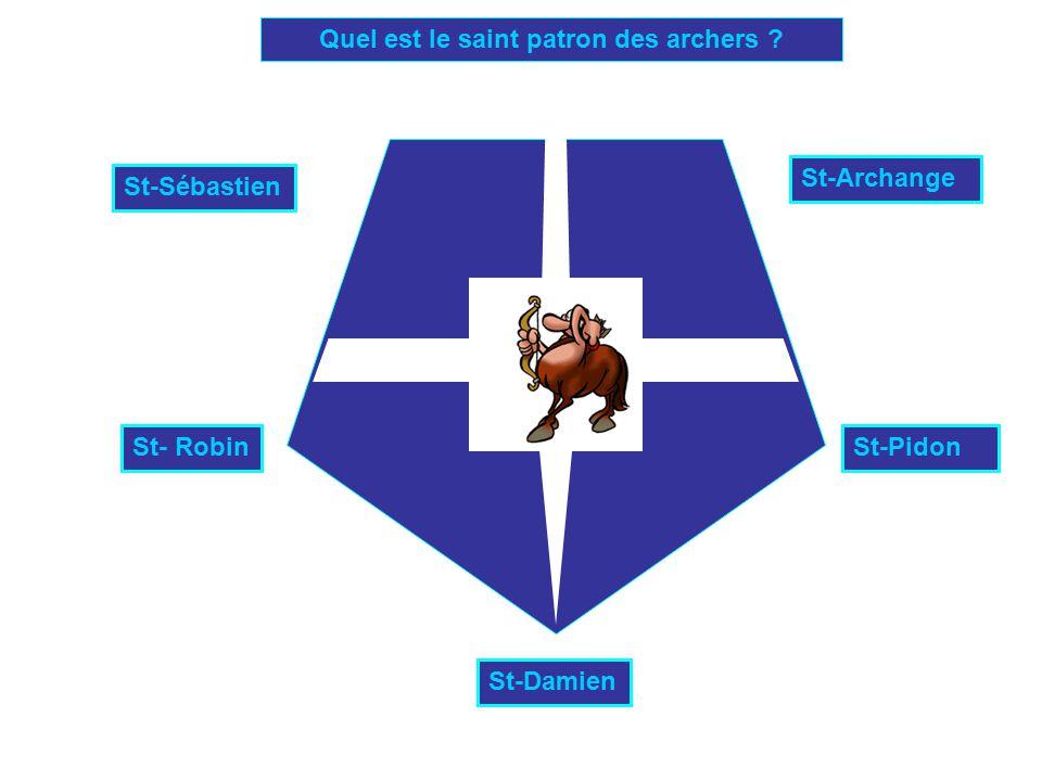 Quel est le saint patron des archers ? St-Sébastien St- Robin St-Damien St-Archange St-Pidon