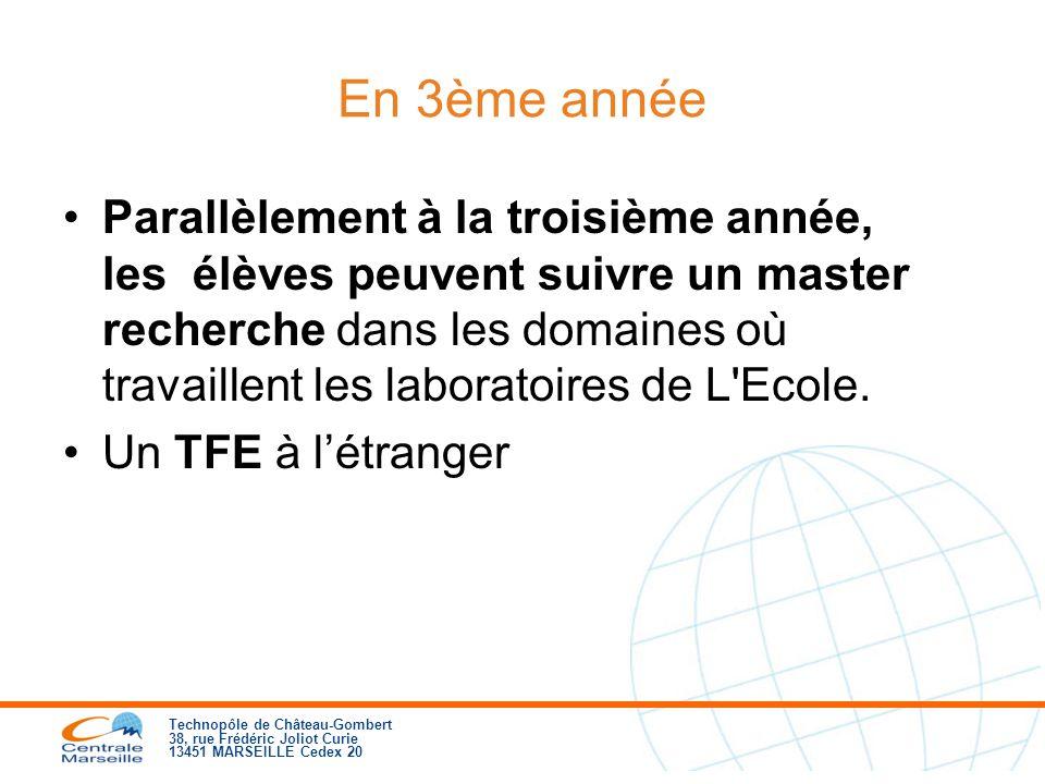 Technopôle de Château-Gombert 38, rue Frédéric Joliot Curie 13451 MARSEILLE Cedex 20 En 3ème année Parallèlement à la troisième année, les élèves peuvent suivre un master recherche dans les domaines où travaillent les laboratoires de L Ecole.