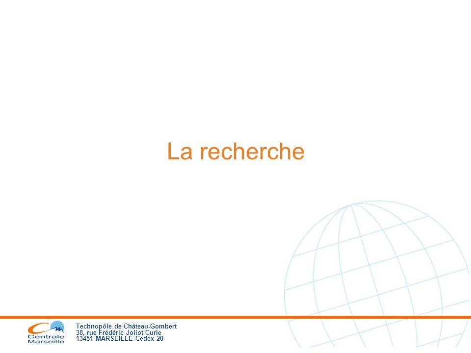 Technopôle de Château-Gombert 38, rue Frédéric Joliot Curie 13451 MARSEILLE Cedex 20 La recherche