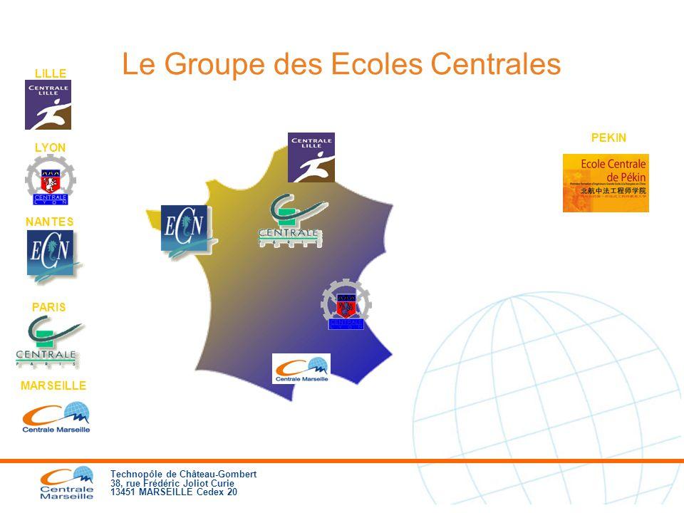 Technopôle de Château-Gombert 38, rue Frédéric Joliot Curie 13451 MARSEILLE Cedex 20 Le Groupe des Ecoles Centrales NANTES LILLE LYON PARIS MARSEILLE PEKIN