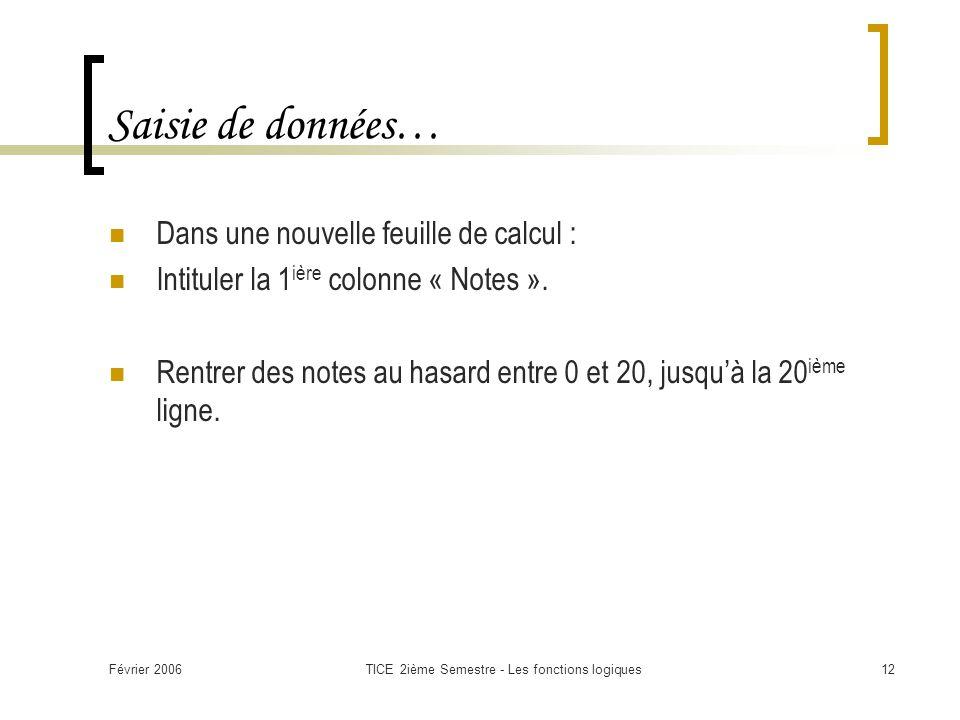 Février 2006TICE 2ième Semestre - Les fonctions logiques12 Saisie de données… Dans une nouvelle feuille de calcul : Intituler la 1 ière colonne « Notes ».