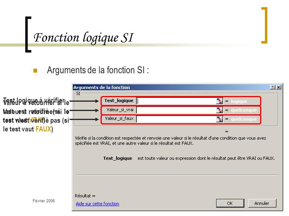 Février 2006TICE 2ième Semestre - Les fonctions logiques17 Fonction logique SI Arguments de la fonction SI : Test logique à vérifier Valeur à retourner si le test est vérifié (si le test vaut VRAI) Valeur à retourner si le test n'est vérifié pas (si le test vaut FAUX)