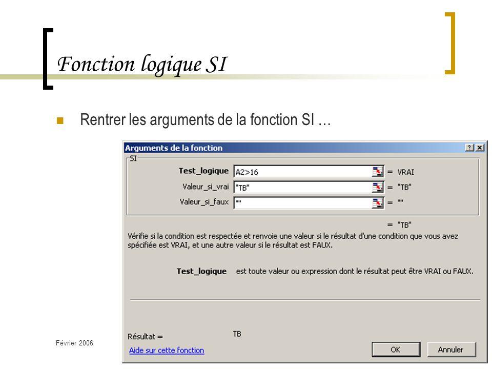 Février 2006TICE 2ième Semestre - Les fonctions logiques18 Fonction logique SI Rentrer les arguments de la fonction SI …