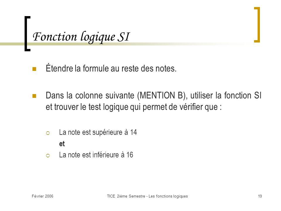 Février 2006TICE 2ième Semestre - Les fonctions logiques19 Fonction logique SI Étendre la formule au reste des notes. Dans la colonne suivante (MENTIO
