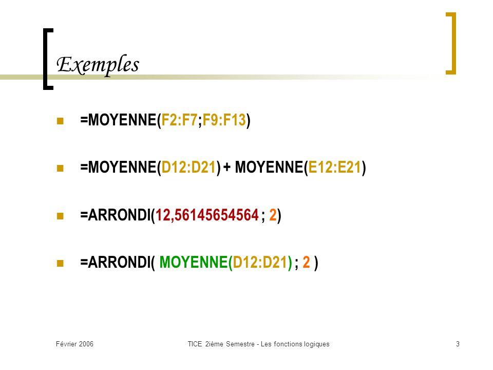 Février 2006TICE 2ième Semestre - Les fonctions logiques3 Exemples =MOYENNE(F2:F7;F9:F13) =MOYENNE(D12:D21) + MOYENNE(E12:E21) =ARRONDI(12,56145654564 ; 2) =ARRONDI( MOYENNE(D12:D21) ; 2 )