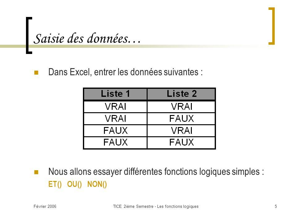 Février 2006TICE 2ième Semestre - Les fonctions logiques5 Saisie des données… Dans Excel, entrer les données suivantes : Nous allons essayer différentes fonctions logiques simples : ET() OU() NON()