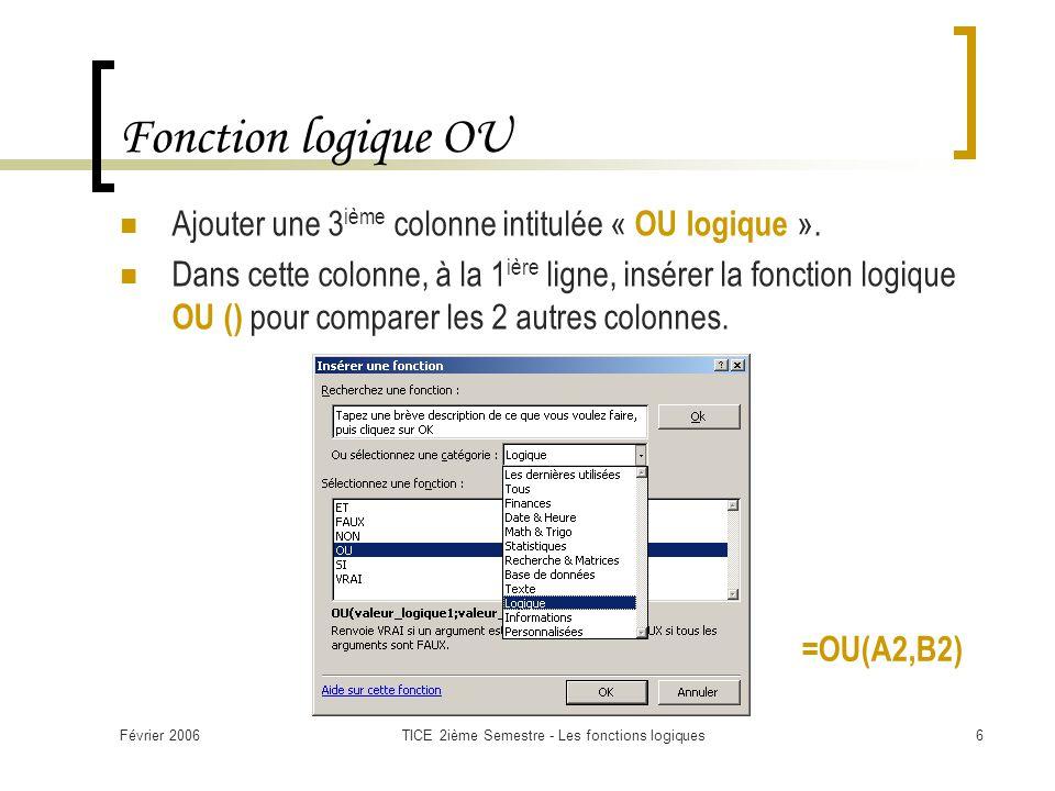 Février 2006TICE 2ième Semestre - Les fonctions logiques6 Fonction logique OU Ajouter une 3 ième colonne intitulée « OU logique ». Dans cette colonne,