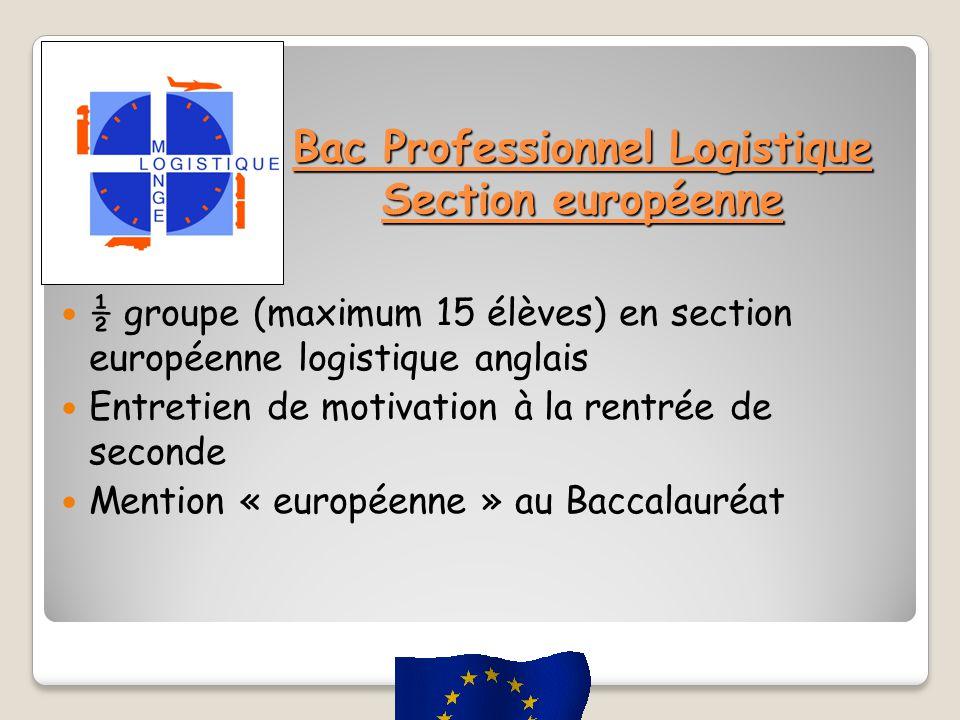 Bac Professionnel Logistique Section européenne ½ groupe (maximum 15 élèves) en section européenne logistique anglais Entretien de motivation à la rentrée de seconde Mention « européenne » au Baccalauréat