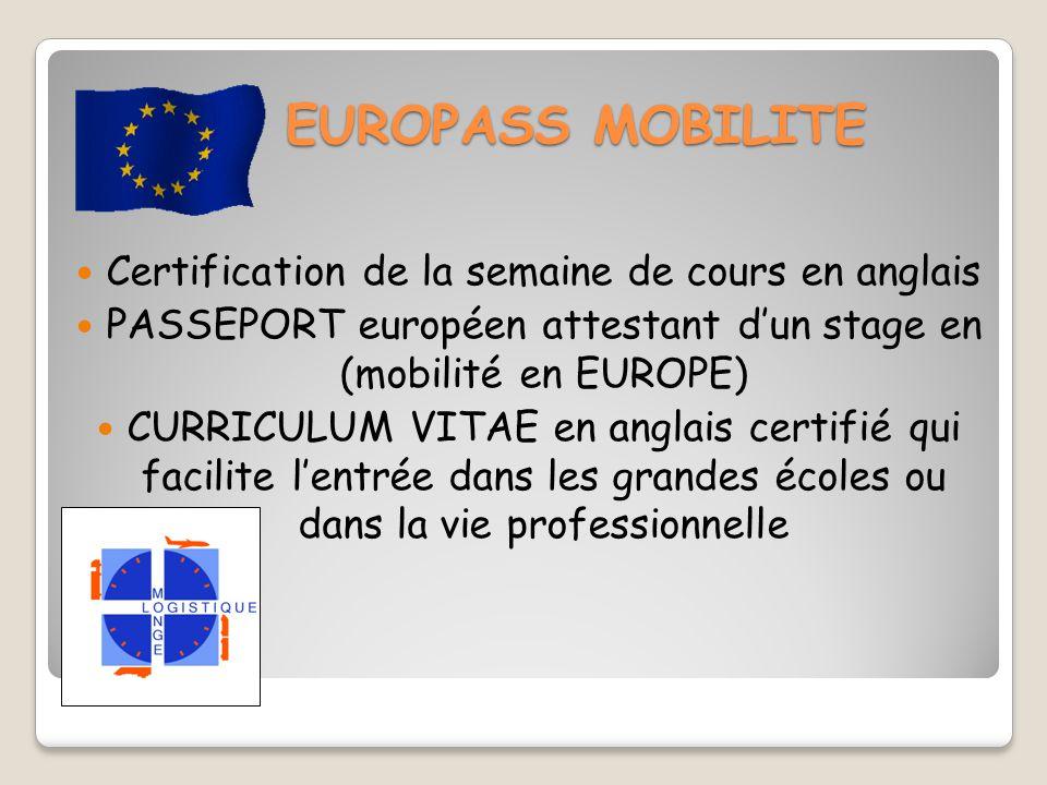 EUROPASS MOBILITE Certification de la semaine de cours en anglais PASSEPORT européen attestant d'un stage en (mobilité en EUROPE) CURRICULUM VITAE en anglais certifié qui facilite l'entrée dans les grandes écoles ou dans la vie professionnelle