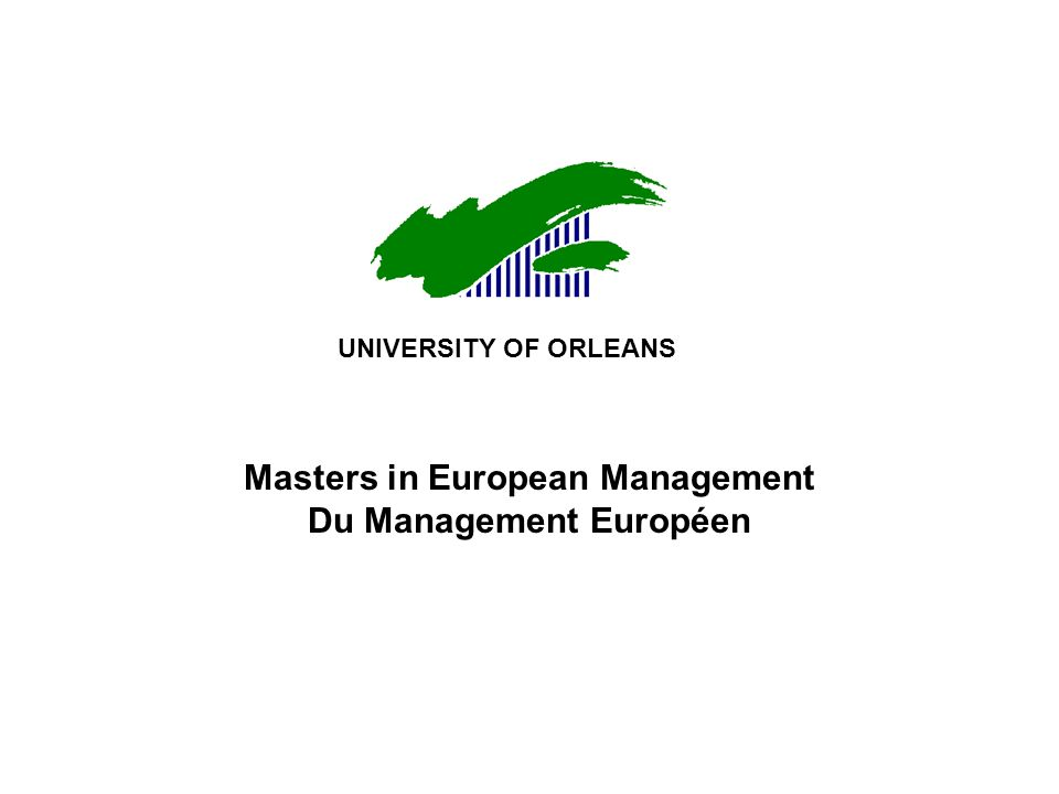 Masters in European Management Du Management Européen UNIVERSITY OF ORLEANS