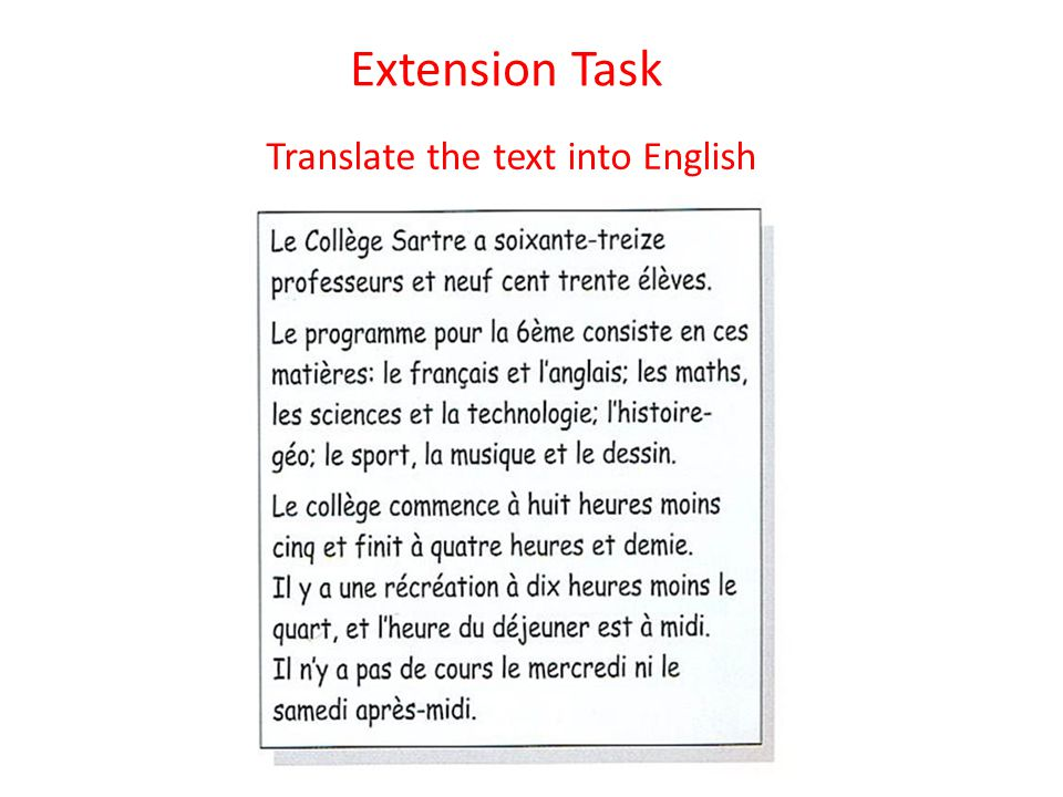Extension Task Translate the text into English
