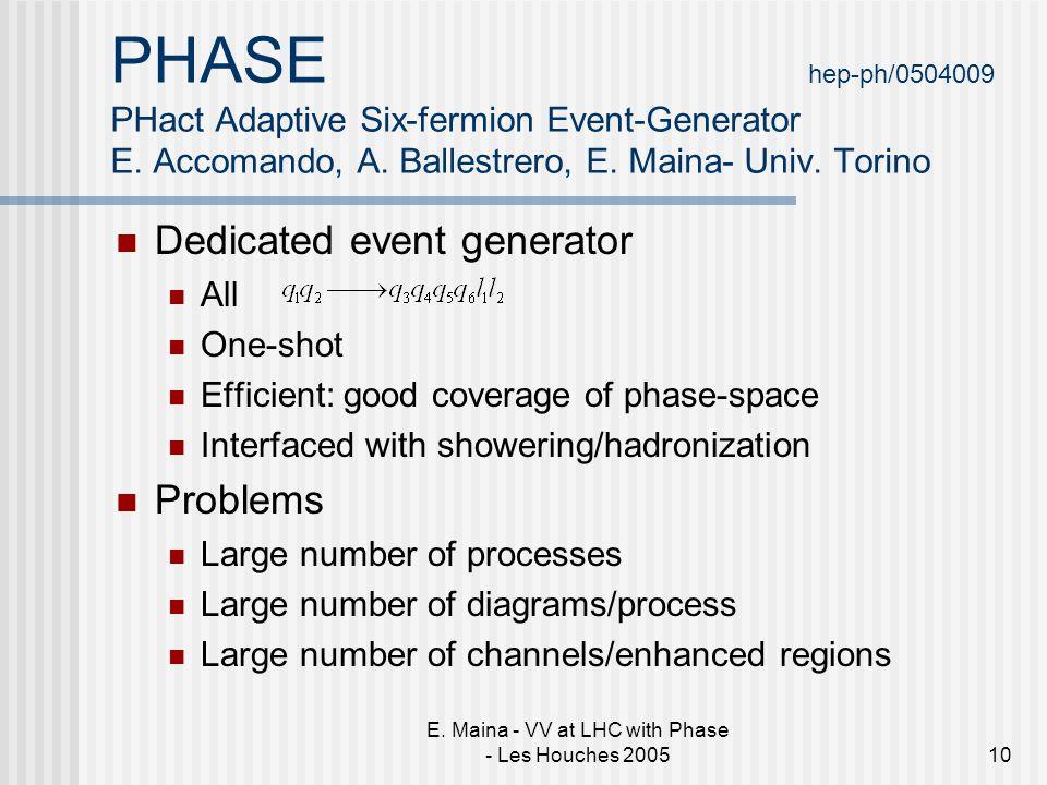 E. Maina - VV at LHC with Phase - Les Houches 200510 PHASE hep-ph/0504009 PHact Adaptive Six-fermion Event-Generator E. Accomando, A. Ballestrero, E.