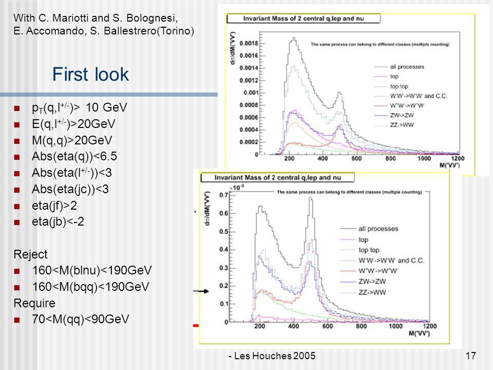 E. Maina - VV at LHC with Phase - Les Houches 200517 First look p T (q,l +/- )> 10 GeV E(q,l +/- )>20GeV M(q,q)>20GeV Abs(eta(q))<6.5 Abs(eta(l +/- ))
