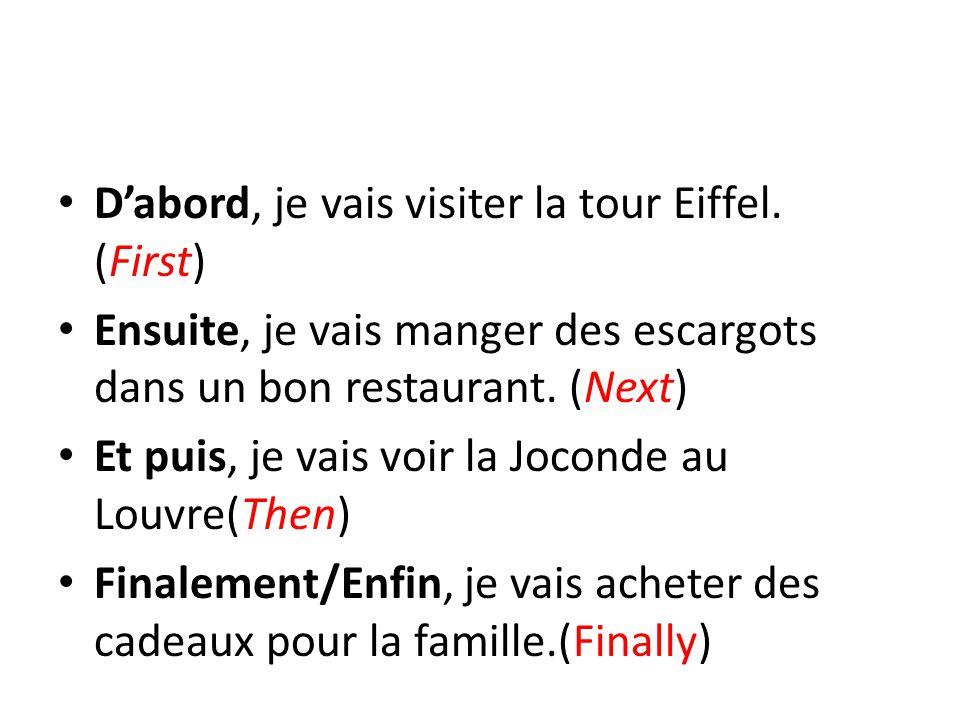 D'abord, je vais visiter la tour Eiffel.