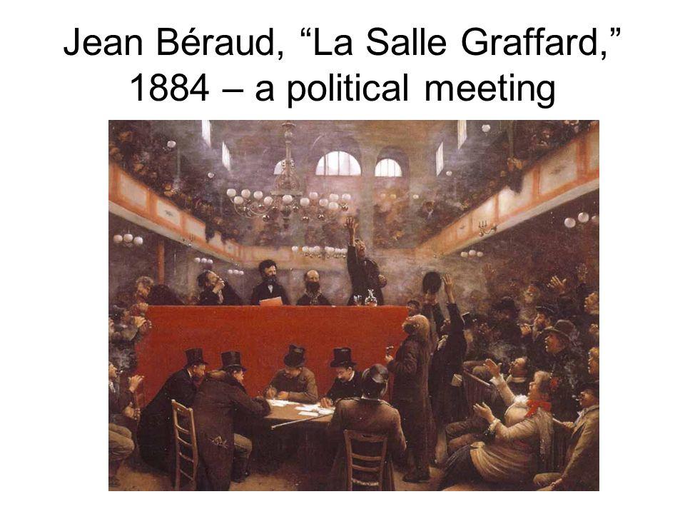 """Jean Béraud, """"La Salle Graffard,"""" 1884 – a political meeting"""