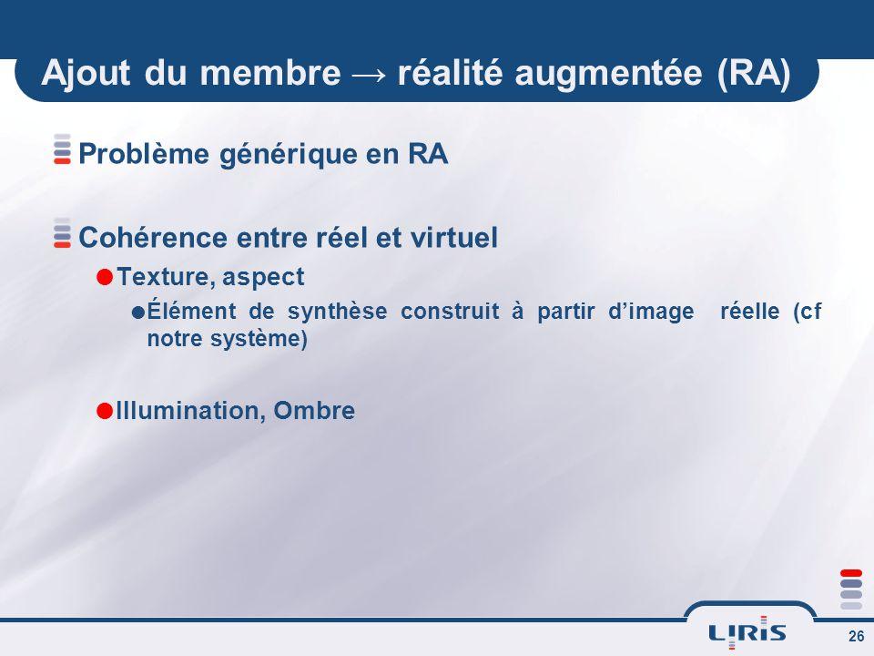 26 Ajout du membre → réalité augmentée (RA) Problème générique en RA Cohérence entre réel et virtuel  Texture, aspect  Élément de synthèse construit à partir d'image réelle (cf notre système)  Illumination, Ombre