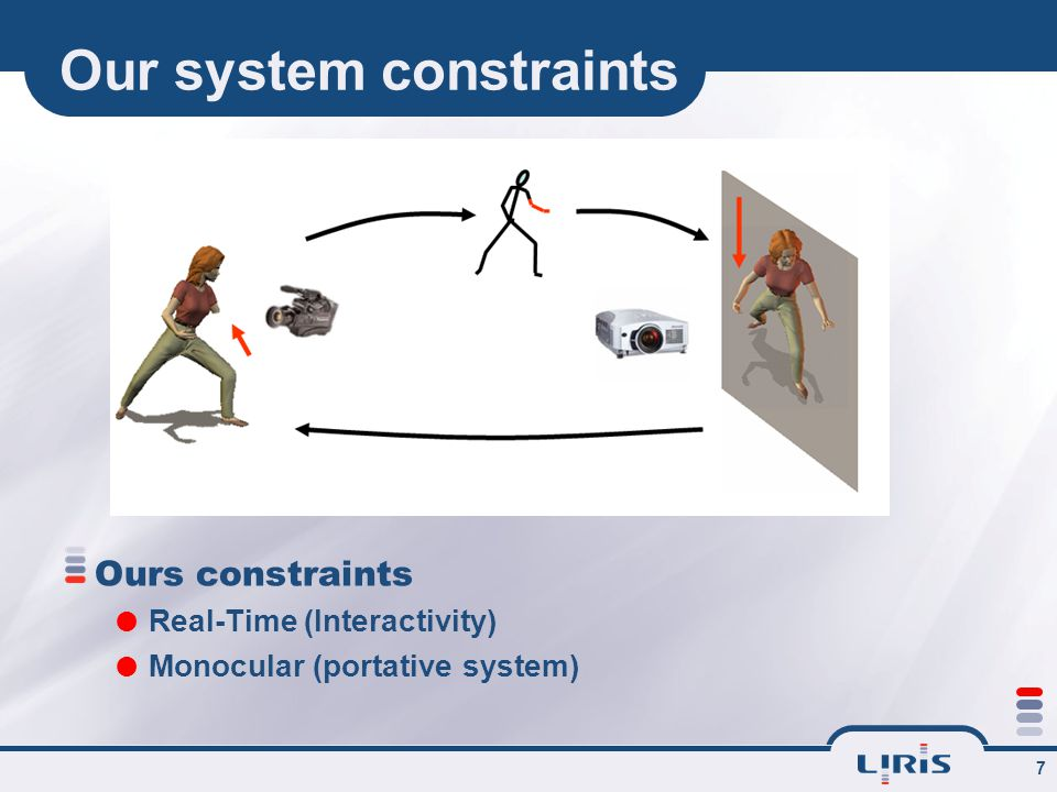7 Our system constraints Ours constraints  Real-Time (Interactivity)  Monocular (portative system)