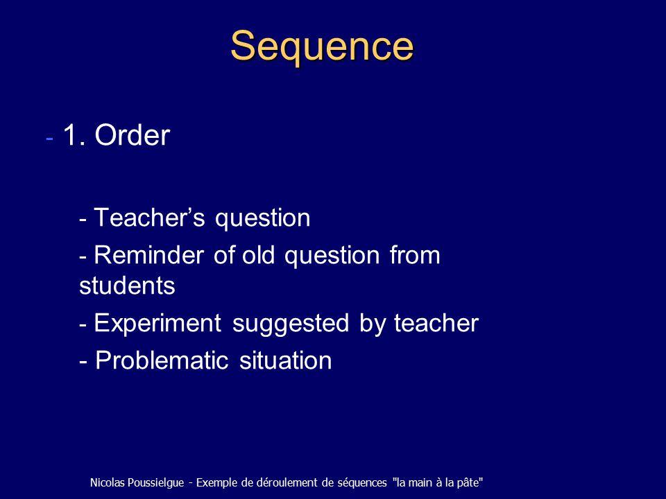Nicolas Poussielgue - Exemple de déroulement de séquences la main à la pâte Sequence - 1.