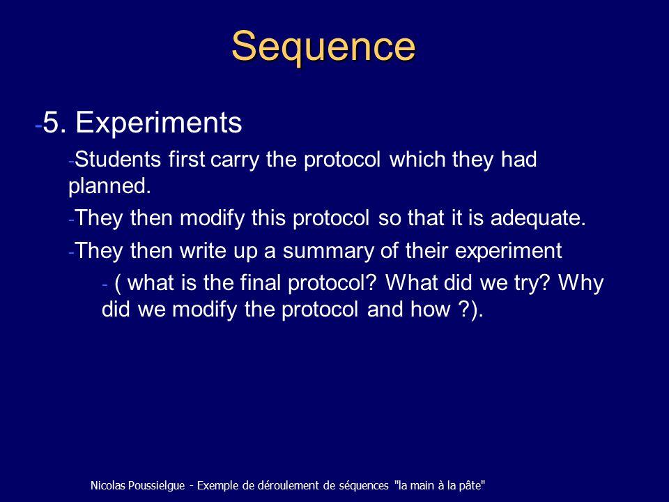 Nicolas Poussielgue - Exemple de déroulement de séquences la main à la pâte Sequence - 5.