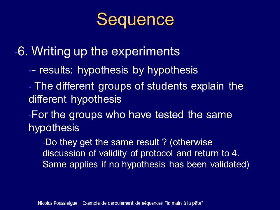 Nicolas Poussielgue - Exemple de déroulement de séquences la main à la pâte Sequence - 6.