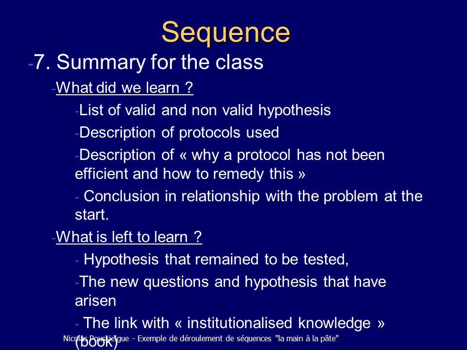 Nicolas Poussielgue - Exemple de déroulement de séquences la main à la pâte Sequence - 7.