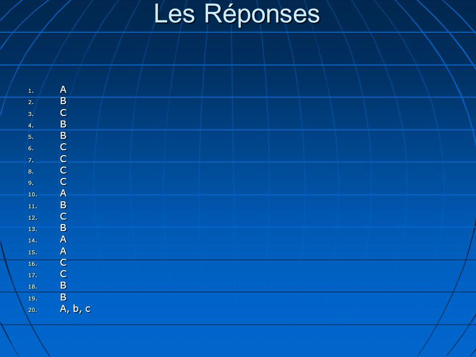 Les Réponses 1. A 2. B 3. C 4. B 5. B 6. C 7.