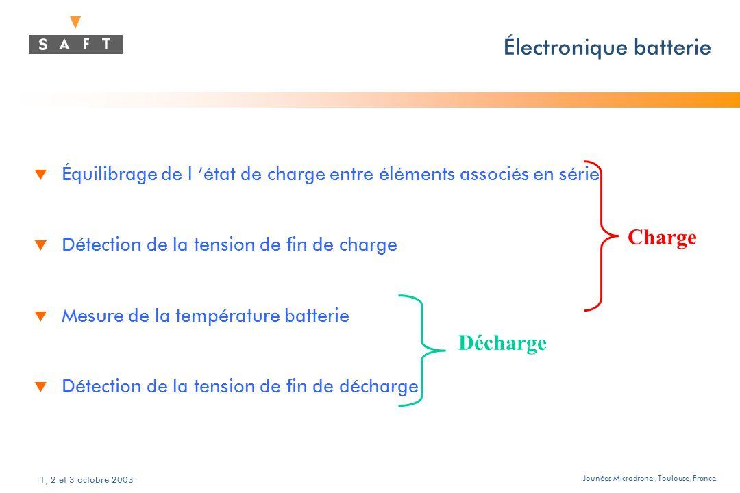 Jounées Microdrone, Toulouse, France 1, 2 et 3 octobre 2003 Électronique batterie t Équilibrage de l 'état de charge entre éléments associés en série t Détection de la tension de fin de charge t Mesure de la température batterie t Détection de la tension de fin de décharge Décharge Charge