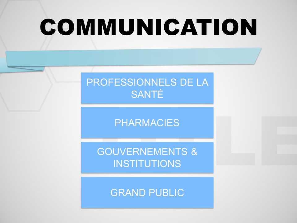TITLE COMMUNICATION PROFESSIONNELS DE LA SANTÉ PHARMACIES GOUVERNEMENTS & INSTITUTIONS GRAND PUBLIC