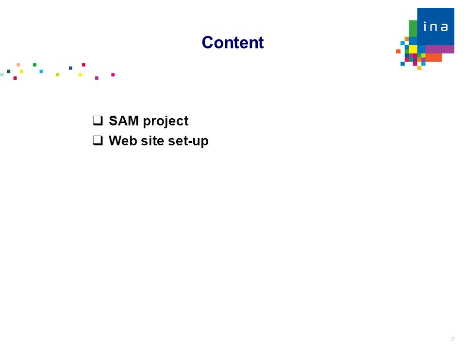 2  SAM project  Web site set-up Content