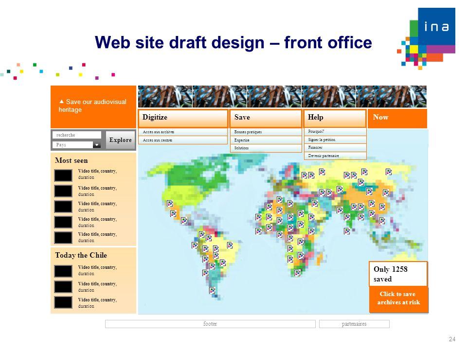 24 Web site draft design – front office Now SaveDigitize Accès aux archives Help footer Accès aux centres recherche  Save our audiovisual heritage Bo